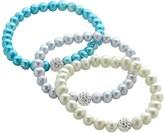 Pearlustre By Imperial PearLustre by Imperial Dyed Freshwater Cultured Pearl & Crystal Stretch Bracelet Set