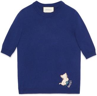 Gucci Cashmere silk jumper with kitten