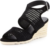 Eileen Fisher Whisper Mesh Suede Wedge Sandal, Black