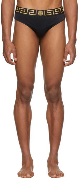 Versace Underwear Black Greek Key Border Swim Briefs