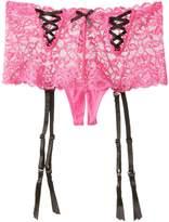 Seven Til Midnight SEVEN 'TIL MIDNIGHT Women's Lurex Lace Open Crotch Gartered Boyshort