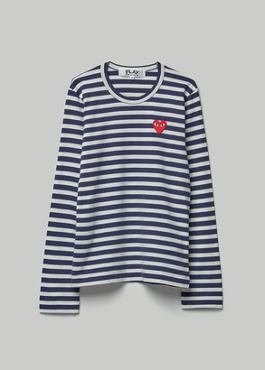 Comme des Garcons Women's Long Sleeve Red Heart T-Shirt in White/Navy Stripe Size Small 100% Cotton
