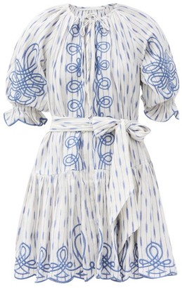 Innika Choo Justine Taiym Ramie-ikat Mini Dress - Blue Print