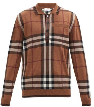 Burberry Check-intarsia Merino-wool Long-sleeve Polo Shirt - Brown Multi