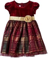 Bonnie Jean Toddler Girl Velvety Bodice Plaid Skirt Holiday Dress