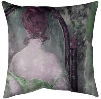 """East Urban Home Before the Mirror Floor Pillow Size: 40"""" x 40"""", Color: Green"""