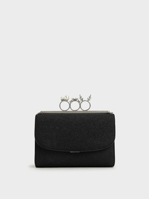 Charles & Keith Glittered Knuckle-Ring Clutch