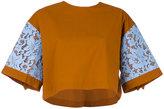 MSGM lace inserts T-shirt - women - Cotton/Polyurethane/Spandex/Elastane - 42