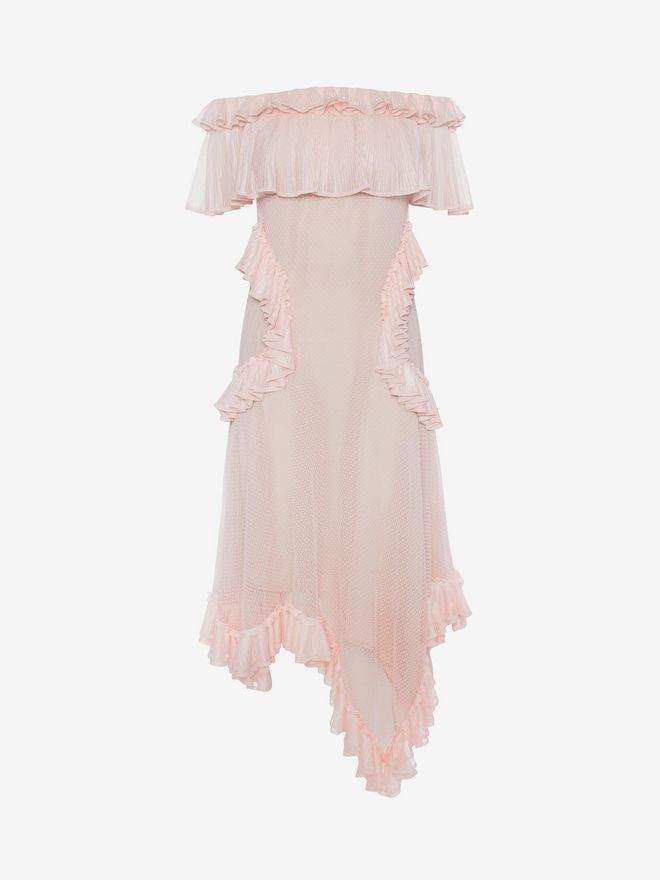 Alexander McQueen Off The Shoulder Lace Knit Ruffle Mini Dress