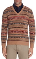 Brooks Brothers Lambswool Fair Isle V-Neck Sweater