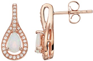 Unbranded 14k Rose Gold Over Silver Lab-Created Opal & Lab-Created White Sapphire Teardrop Earrings