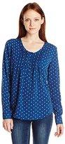 Dockers Women's Petite Long Sleeve Pullover Pintuck Blouse Petite