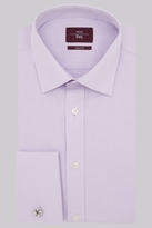Moss Esq. Regular Fit Lilac Double Cuff Textured Shirt