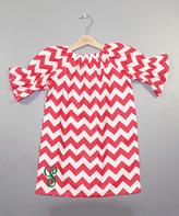 Princess Linens Red Chevron Initial Peasant Dress - Toddler & Girls