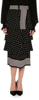 Stella McCartney Tiered Polka-Dot Midi Skirt, Black