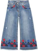 Ermanno Scervino Wide Leg Stretch Cotton Denim Jeans