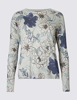 M&S Collection Floral Print Ribbed Sleeve Jumper