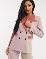 UNIQUE21 contrast panelled blazer in cream and pinks