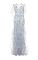 Marchesa Tulle Gown with Tiered Ruffle Skirt