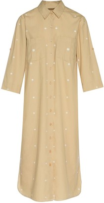Ada Kamara Dot Shirt Dress In Beige