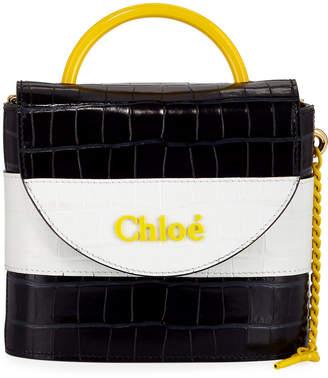 Chloé Aby Lock Crocodile-Embossed Crossbody Bag