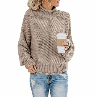 Sanfo Women's Turtleneck Jumpers Casual Batwing Sweaters Long Sleeve Pullover Loose Chunky Knitted Jumper Tops Khaki
