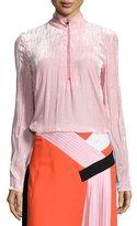 Emilio Pucci Velvet Half-Zip Long-Sleeve Pullover, Bubble Gum