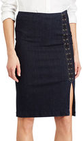 Lauren Ralph Lauren Petite Lace-Up Denim Pencil Skirt