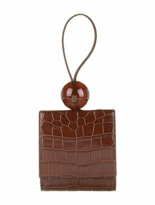 BY FAR Embossed Leather Ball Bag Brown