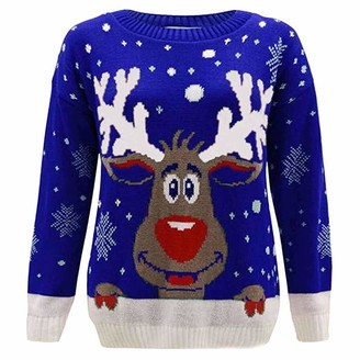 Lazzboy Women Lazzboy Sweater Womens Pullover Long Sleeve Casual Solid Knitted Xmas Elk Snow Casual O Neck Christmas Tops Shirt Blouse Jumper (XL(UK 12)