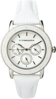 BCBGMAXAZRIA Ladies Slim Leather Strap Watch with Multi Function Dial