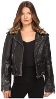 Just Cavalli Leather Moto Zip with Cat Accent Runway Jacket
