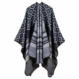 Lifetooler Women Poncho Open Front Winter Cardigan Lady Reversible Free Size Cape Printed Oversized Warm Wraps Checked Knitted Tartan Blanket Bohemia Long Geometric Pattern Shawl