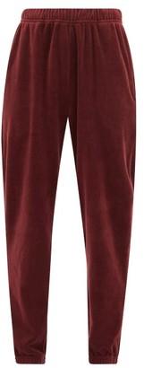 LES TIEN Cotton-blend Velour Track Pants - Burgundy
