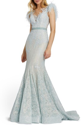 Mac Duggal Illusion Sequin Lace Feather Sleeve Mermaid Gown