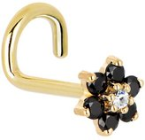 Body Candy Solid 14k Yellow Gold and Clear Cubic Zirconia Flower Left Nostril Screw 18 Gauge