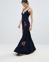 Club L Cami Strap Floral Embroidery Detail Maxi Dress With Thigh Split