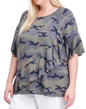 Fever Plus Size Camo-Print Ruffle Top