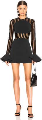David Koma Macrame Long Sleeve Mini Dress in Black | FWRD