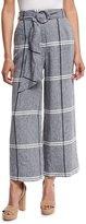Suno Cropped Plaid Wide-Leg Pants, Chambray