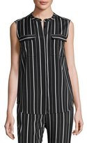 St. John Sahara Striped Button-Front Shell, Black/White