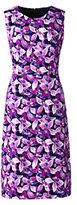 Classic Women's Petite Sleeveless Ponté Sheath Dress-Ivory Marin Botanical