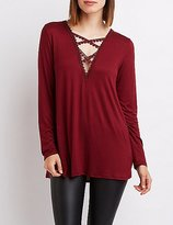 Charlotte Russe Caged Crochet Tunic Top