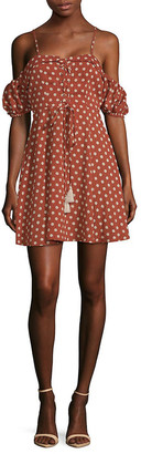 Haute Rogue Boho Polka Dot Lace-Up Mini Dress