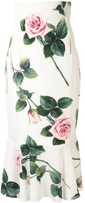 Dolce & Gabbana Tropical Rose Print Midi Skirt