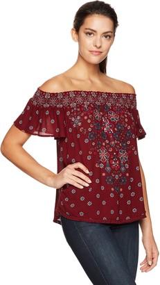 Taylor & Sage Women's Floral Print Off The Shoulder Smocked Top