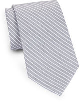 Black Brown 1826 Striped Silk and Linen Tie