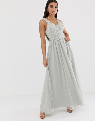 Asos Design DESIGN maxi dress with tulle skirt and embellished and pearl bodice