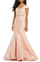 Terani Couture Off-the-Shoulder Jacquard Mermaid Gown