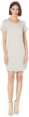 Tribal Stripe Jersey T-Shirt Dress with Pocket (White) Women's Dress